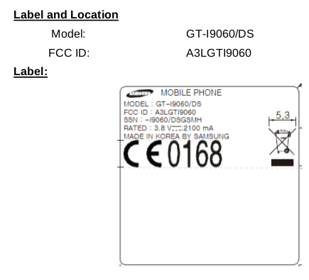 Samsung GT-I9060 FCC