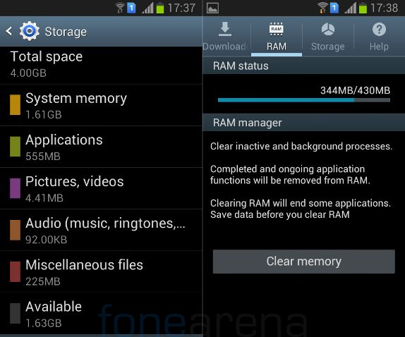 Samsung Galaxy Star Pro Internal Storage and RAM