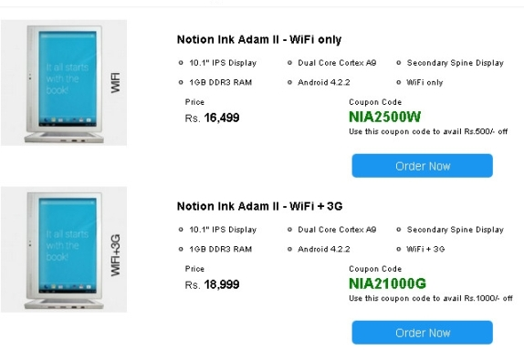 Notion Ink Adam 2 goes on sale in India , priced at Rs ...