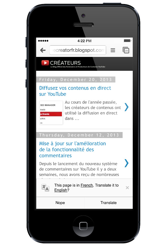 Google Chrome for iPhone Translate