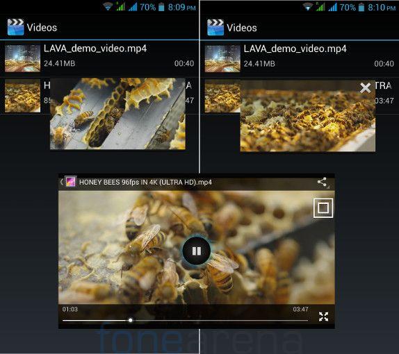 Lava Iris Pro 30 Popup Video player
