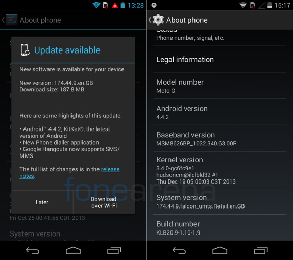 Motorola Moto G Android 4.4.2 UK