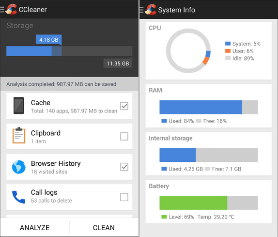 Ccleaner for android or iphone