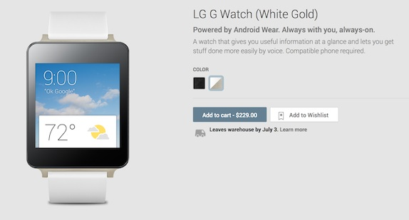 LG G Watch goes on sale on Google Play Store in US for ...