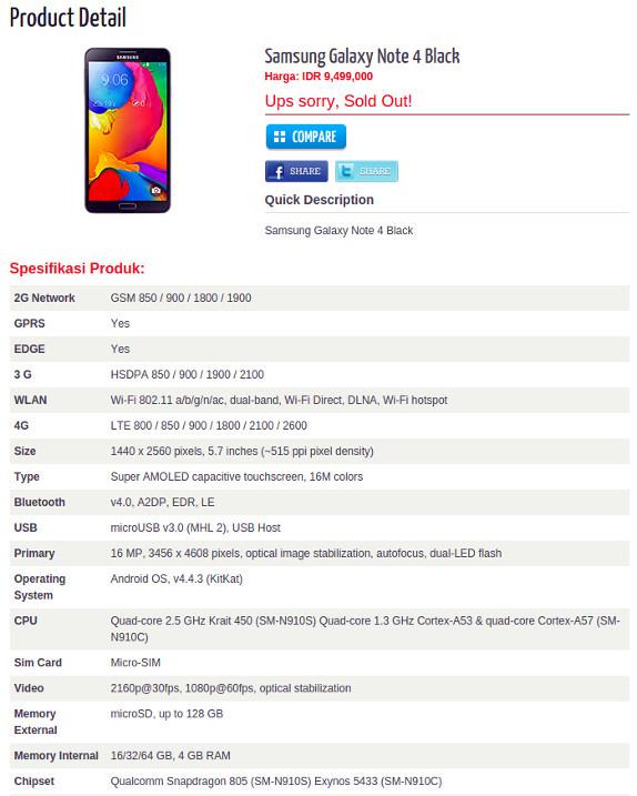 Samsung Galaxy Note 4 listing hints at 5.7-inch Quad HD ...