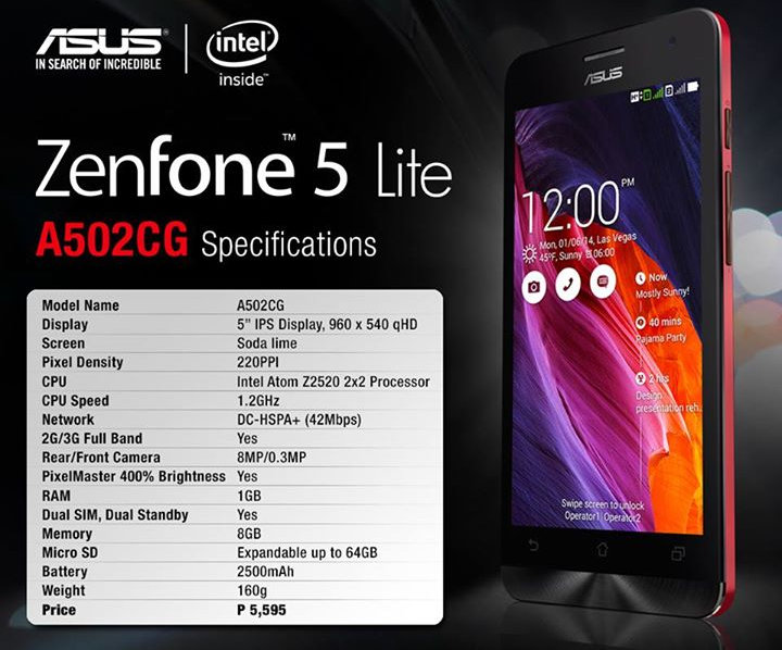 Asus Zenfone 5 Lite With 5 Inch QHD Display 12GHz Intel