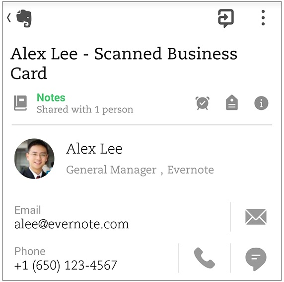 Evernote for Android s Business Card Scanning