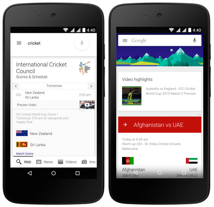 Google Search now offers Cricket World Cup 2015 videos, highlights and more