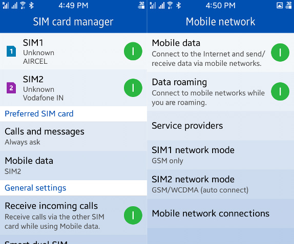 Samsung Z1 Dual SIM and Connectivity