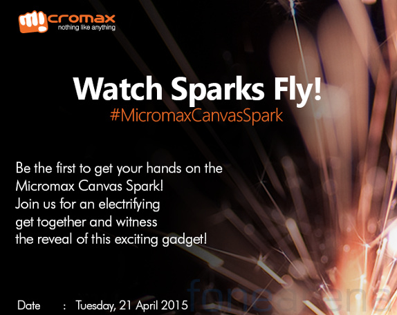 Micromax Canvas Spark running Android Lollipop launching on April 21 – Launching Invitation Card