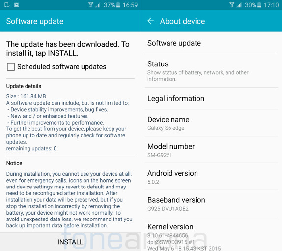 samsung galaxy s6 edge gets an update in india bug fixes improvements in stability and. Black Bedroom Furniture Sets. Home Design Ideas