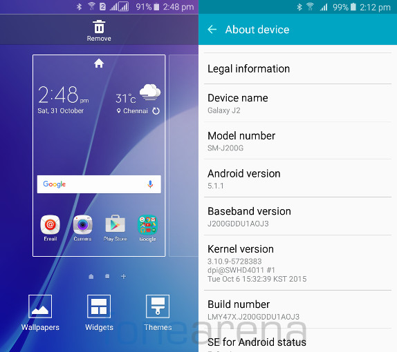 Samsung Galaxy J2 Home and About