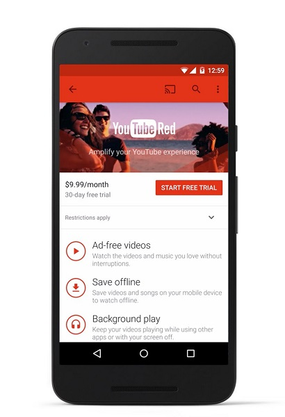 YouTube Red, A $9.99 Per Month Ad Free Subscription Video
