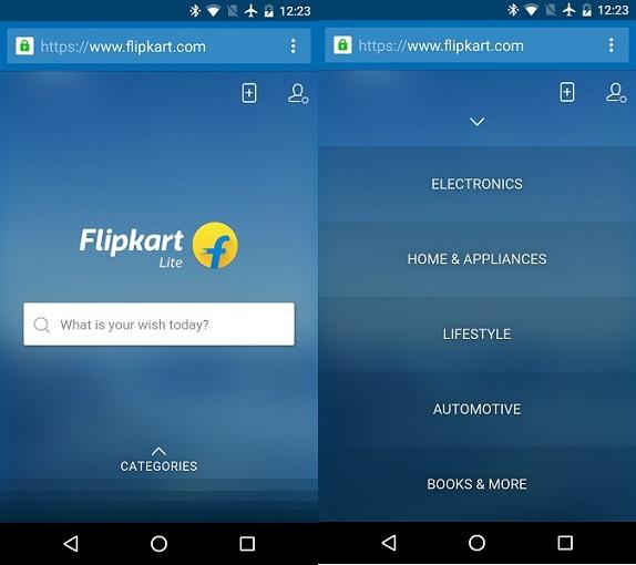 flipkart rolls out flipkart lite mobile website. Black Bedroom Furniture Sets. Home Design Ideas