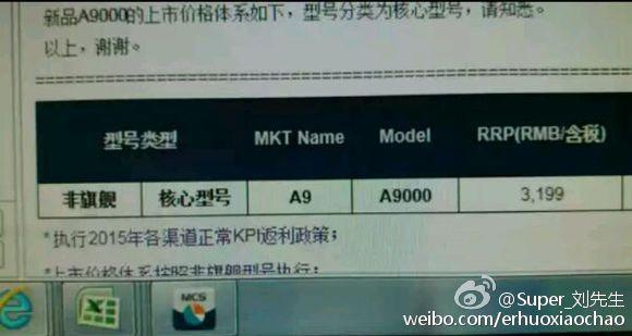 Samsung Galaxy A9 price leak