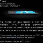 BlackBerry Priv India launch invite