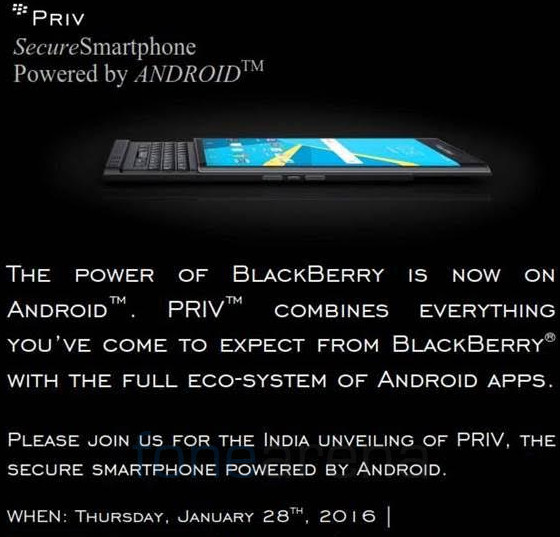BlackBerry Priv India launch invite