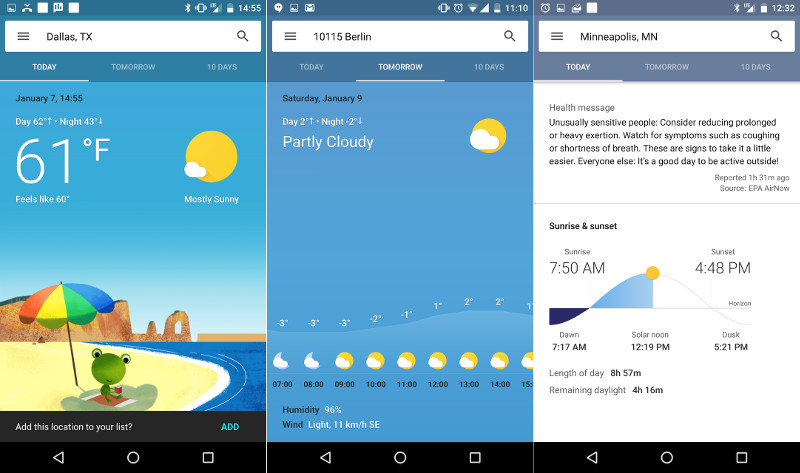 Google is testing new colorful weather cards