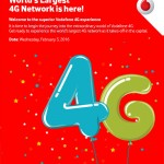 Vodafone 4G Launch Delhi invite