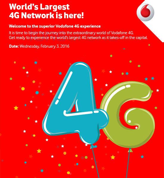 Vodafone 4G Launch Delhi invite