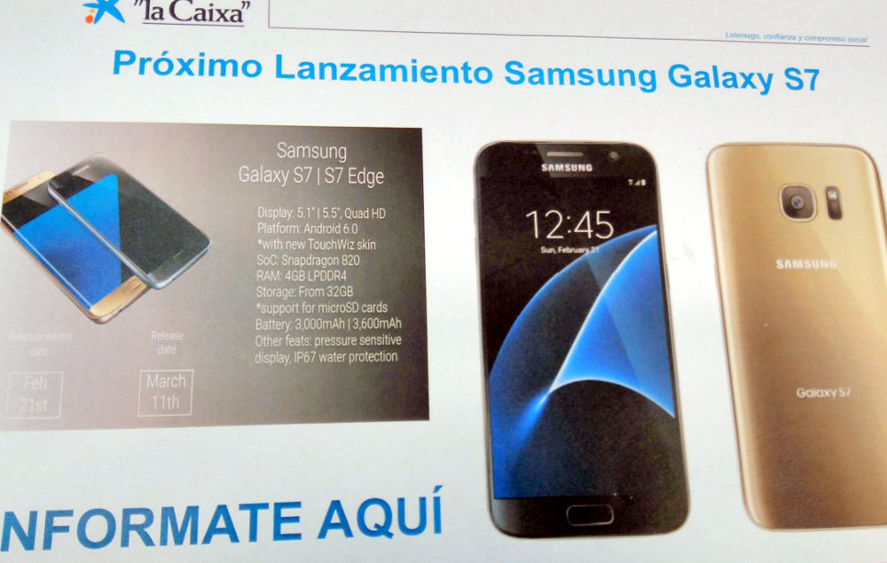 Samsung Galaxy S7 and S7 edge detailed specifications surface in promotional poster