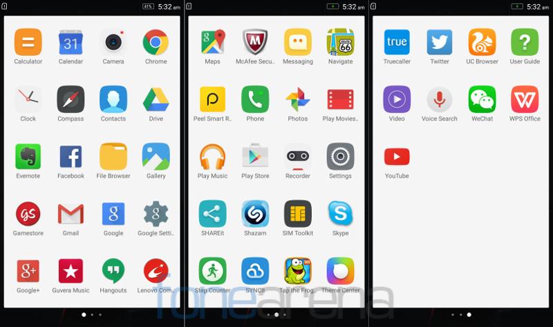 Lenovo Vibe X3 Apps
