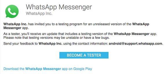 WhatsApp beta program