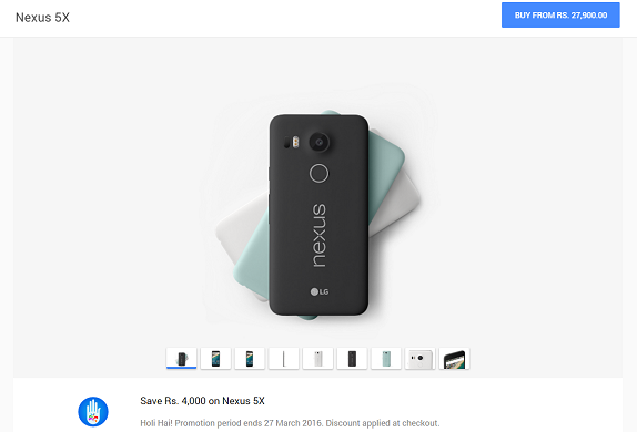 Google offers Rs. 4000 discount for Nexus 5X in India till March 27
