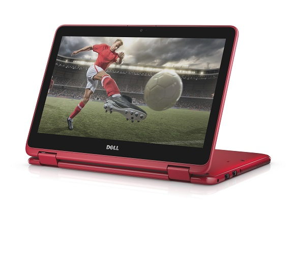 Dell Inspiron 11 3000 Series (Model 3168, Drax) Touch 11-inch notebook computer. Product's keyboard has been partially folded over into tablet form factor, with keyboard used as a stand.