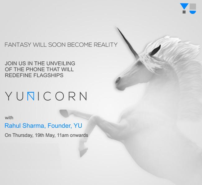 YU YUNICORN May 19 launch invite