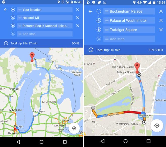 Google Maps multi waypoints