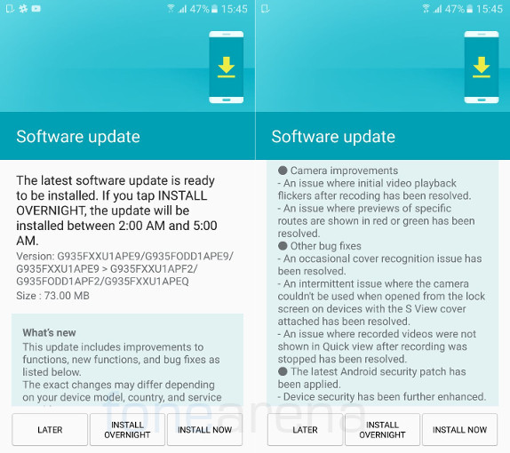 Samsung Galaxy S7 edge June update