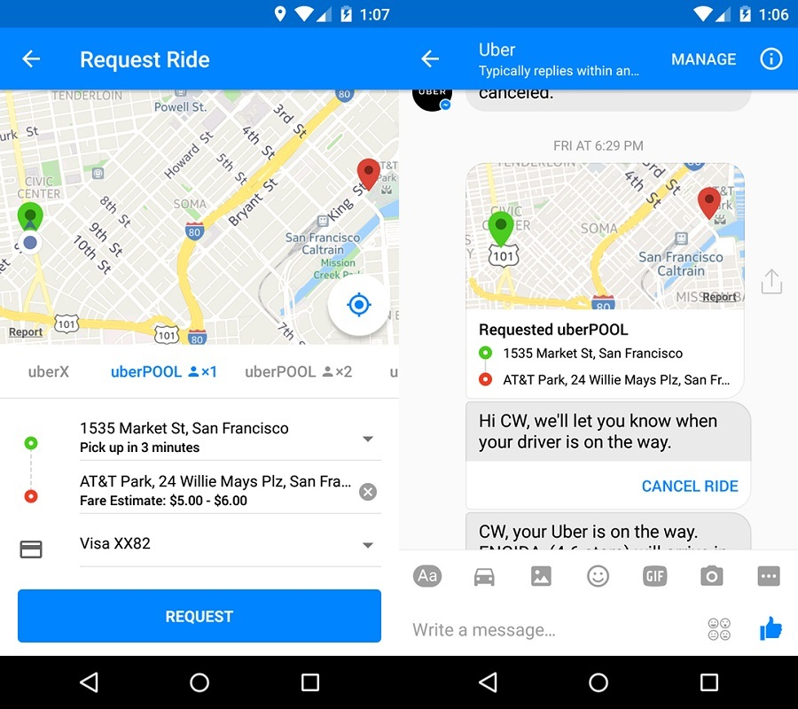 You can now book a uberPool ride directly from Facebook Messenger