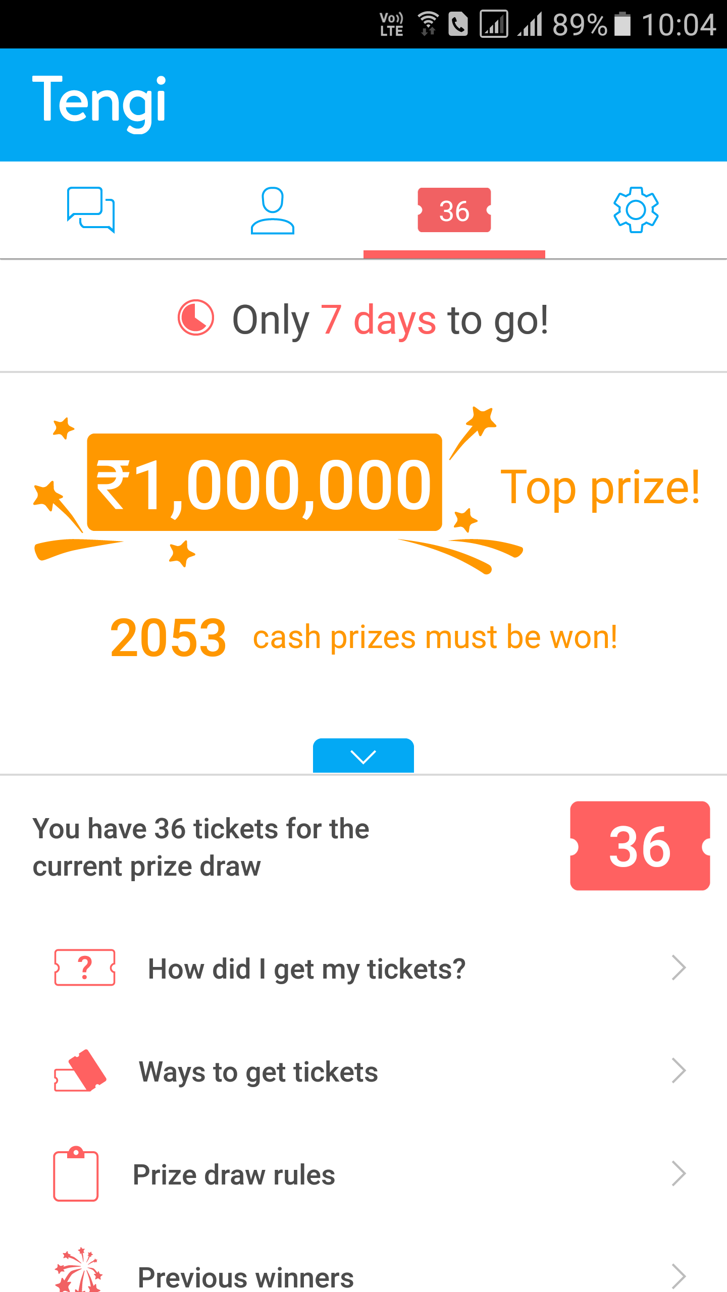 tengi im app review the top prize is rs 10 00 000 and there is a new draw every week along several other cash prizes apart from the top one