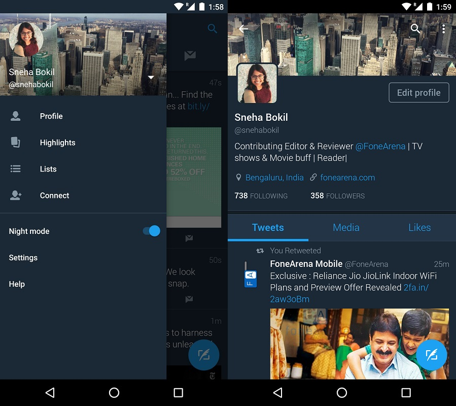 Twitter rolls out Night Mode for Android app