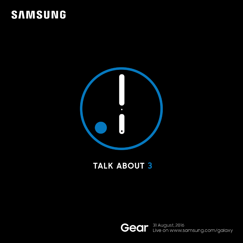 Samsug Gear S3 announcement invite