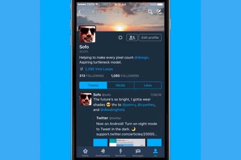Twitter iOS night mode