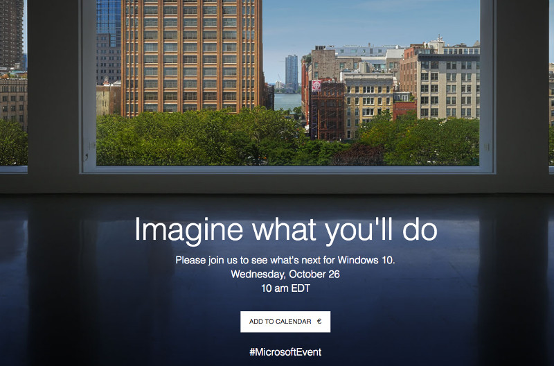 Microsoft schedules Windows 10 event on October 26, Surface AiO PC expected