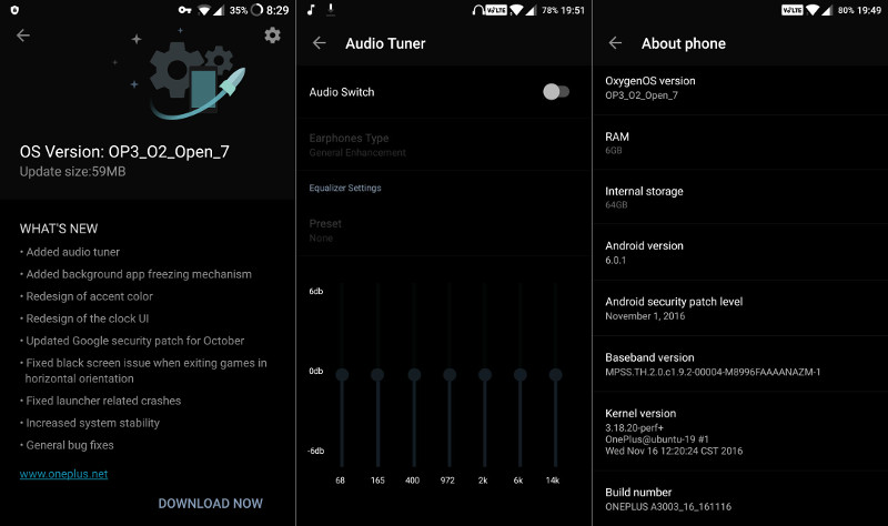 OnePlus 3 OxygenOS Open Beta 7 brings audio tuner, November Android security update and more