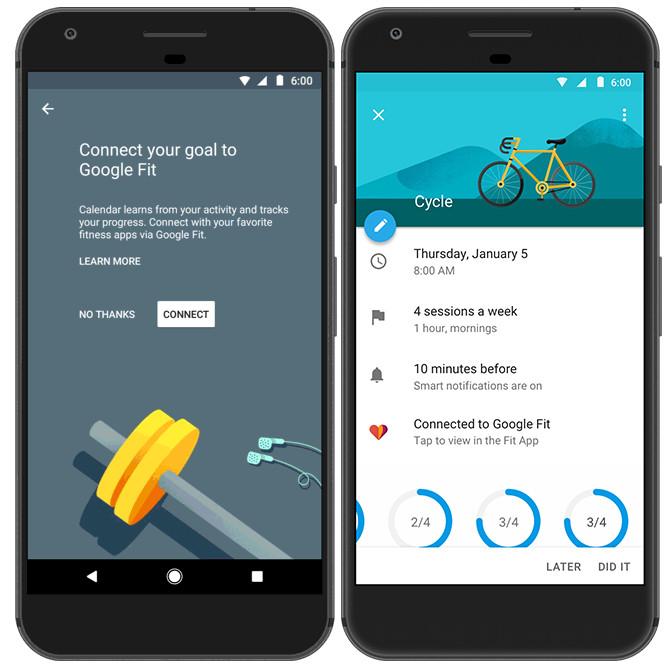 Google Calendar goals now have Google Fit and Apple Health integration