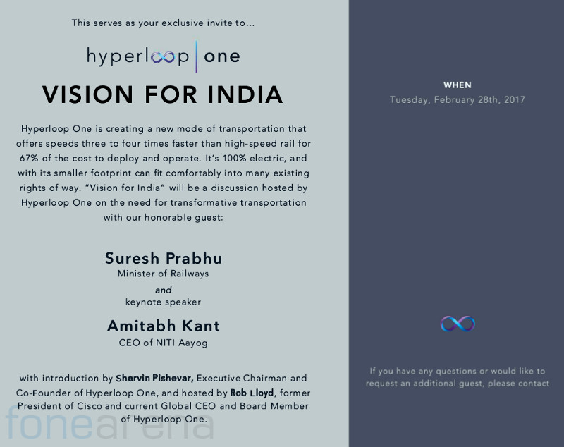 Hyperloop One Vision for India Invite Feb 28