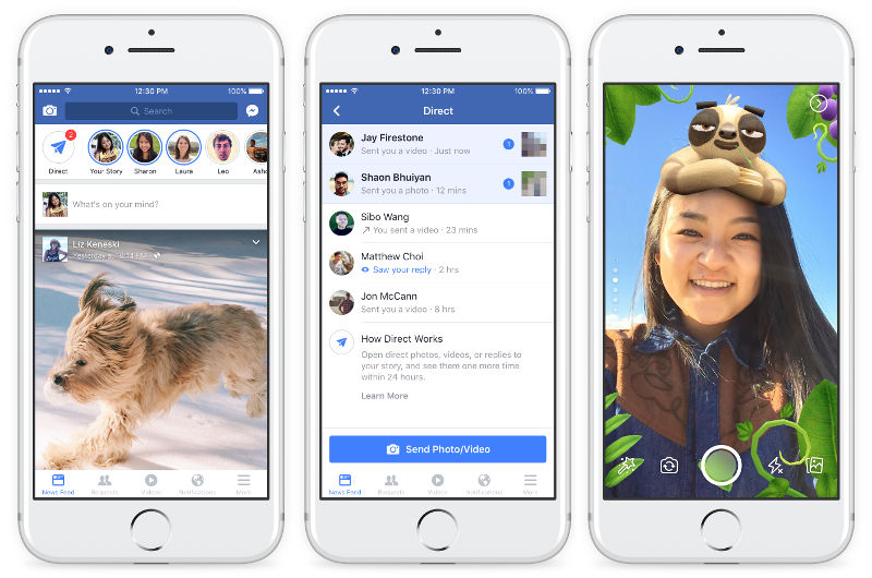 Facebook Stories, Direct, Camera Effects