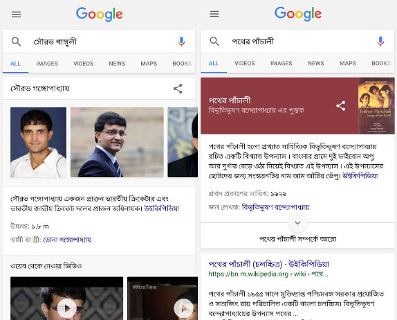 Google Search Knowledge Graph Bengali