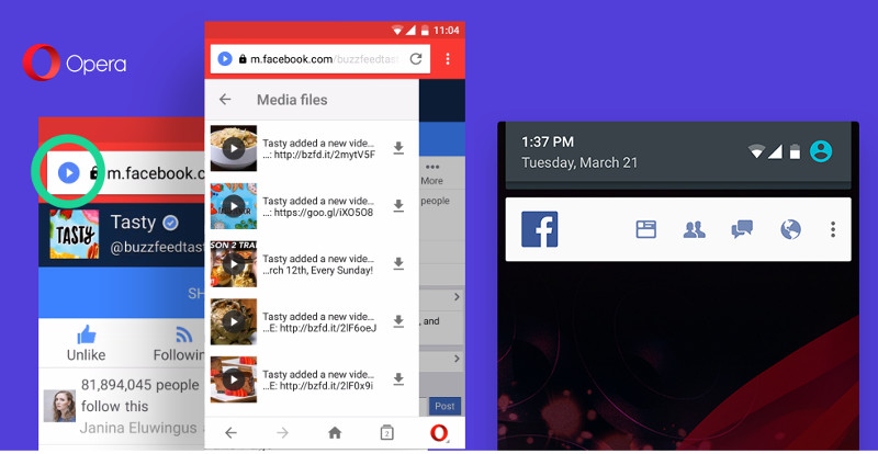 Opera Mini for Android automatic scanning, facebook notificaiton