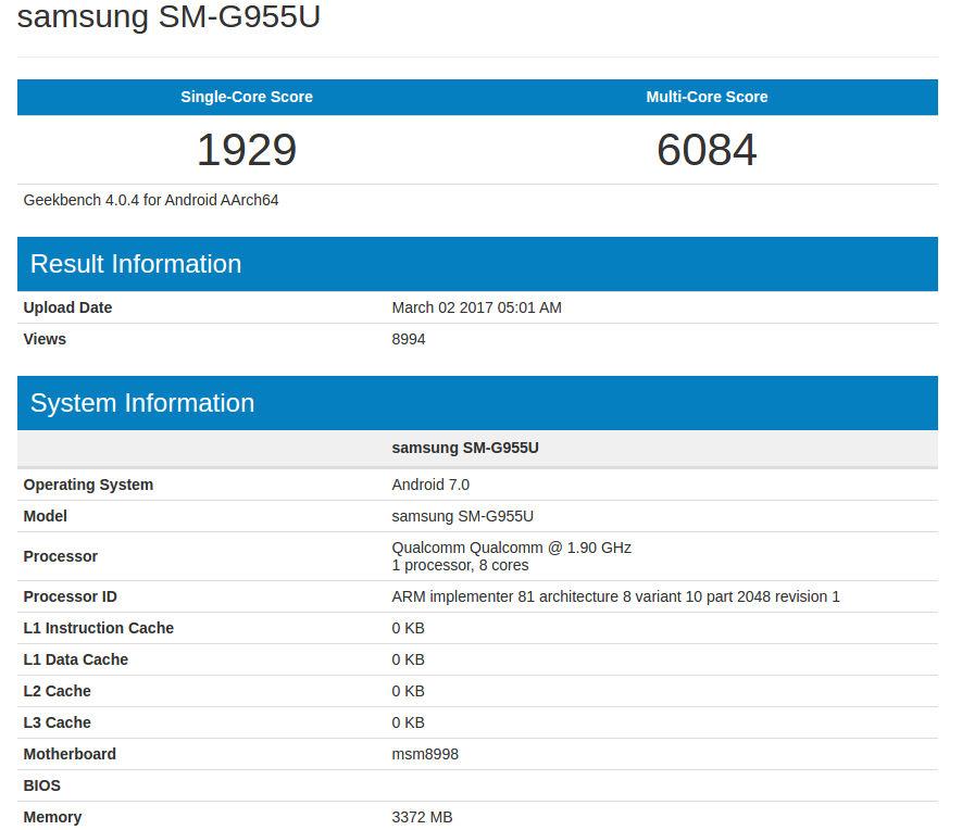 Samsung Galaxy S8+ Geekbench leak