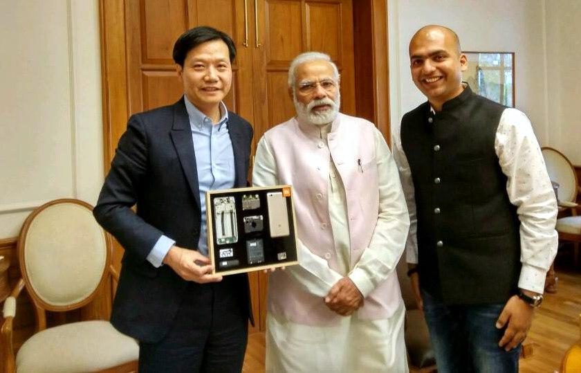 Xiaomi CEO Lei Jun with Narendra Modi