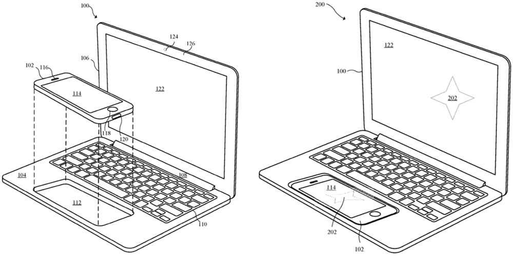 Apple patent shows iPhone or iPad docking system to Macbook