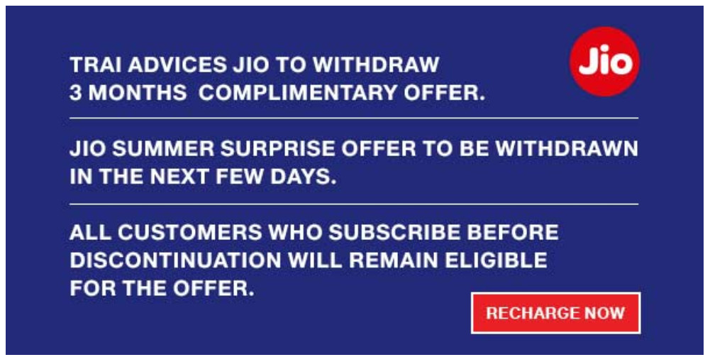 Jio Summer Surprise Offer Withdrawal