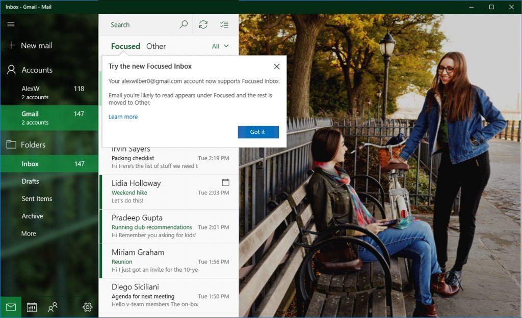 gmail W10