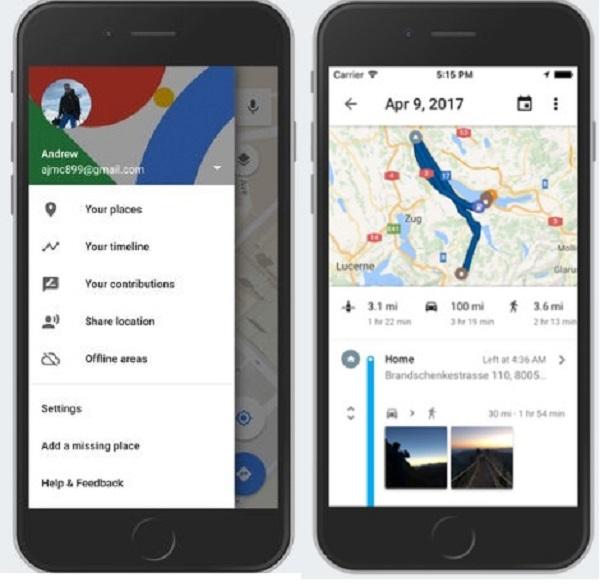 google_maps timeline
